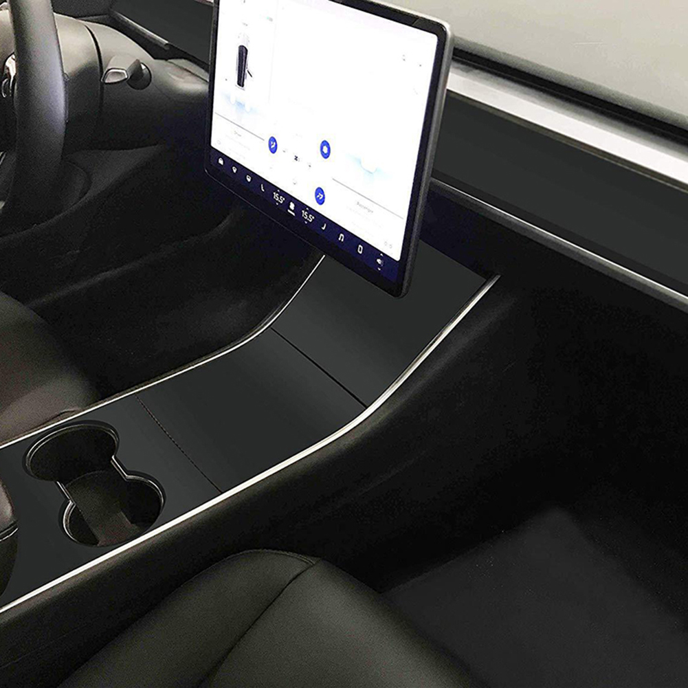 Car Center Console Sticker Matte Black For Tesla Model 3 LHD Car Dashboard Stickers Kit Car Accessories
