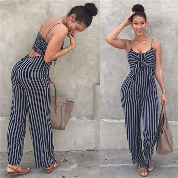 Elegant Striped Rompers 2020 Summer New Sexy Spaghetti Strap Women Jumpsuit Sleeveless Backless Casual Wide Legs Leotard Overall leisure style sleeveless spaghetti strap flounce striped backless dress for women
