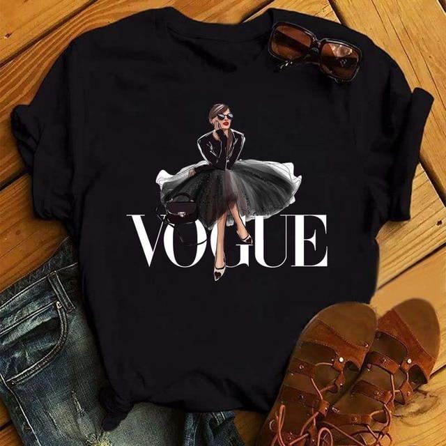 Maycaur Vogue Princess T Shirt Harajuku Ulzzang Print Female Tshirt Cartoon Funny Tops Tees Fashion Graphic Femme Tshirts 1