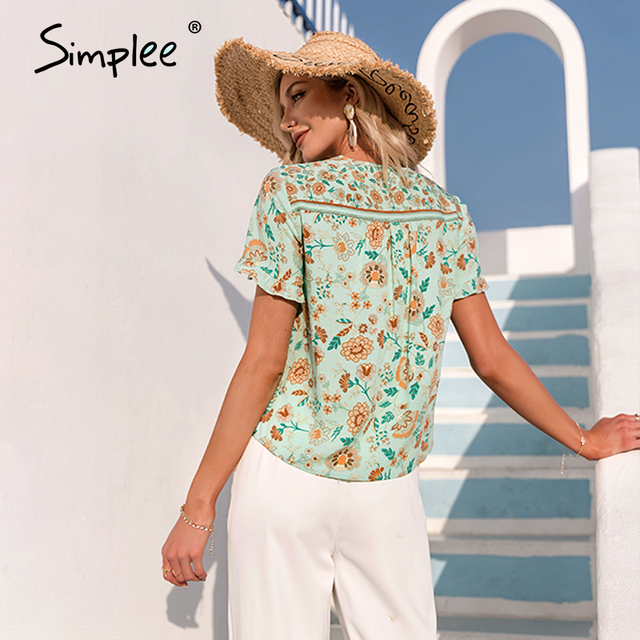 Simplee Ethnic holiday floral print loose women blouse summer Casual bow sash tassel shirts female Ruffled o-neck short top lady 3