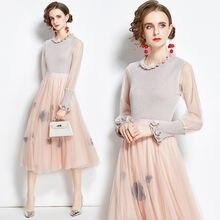 Zuoman для женщин осень элегантный вязаный костюм с платьем