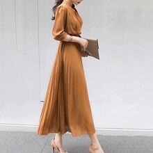 цена на Summer Casual Elegant Office Ladies Korean Blue Vintage Women Long Dress Pleated Plain High Waist Female 2020 Retro Maxi Dress