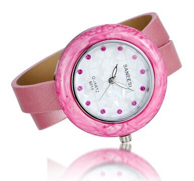 New Arrival Fashion Quartz Watches Women Long Leather Band Watch Alloy Resin Case Wristwatches   Fotoflaco.net