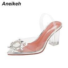 Aneikeh Große Größe 41 42 Mode Klar PVC Transparent Sandalen Frauen Schuhe Strass Sunflower High Heels Sandalen Sommer Heels