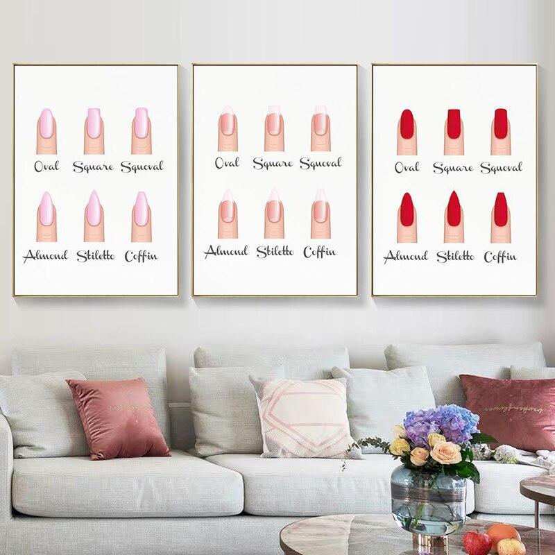 Настенные плакаты и принты в форме ногтей для салона красоты, декоративные подарки для макияжа, руководство по ногтевому типу, Художественная Картина на холсте, картины для маникюрных салонов