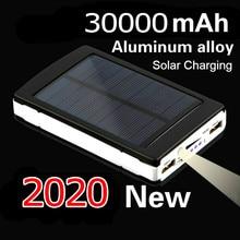 30000mAh Power Bank Solar Panel Large Capacity Portable Mobile Phone Charger LED Lighting Dual USB Mobile Power External Battery