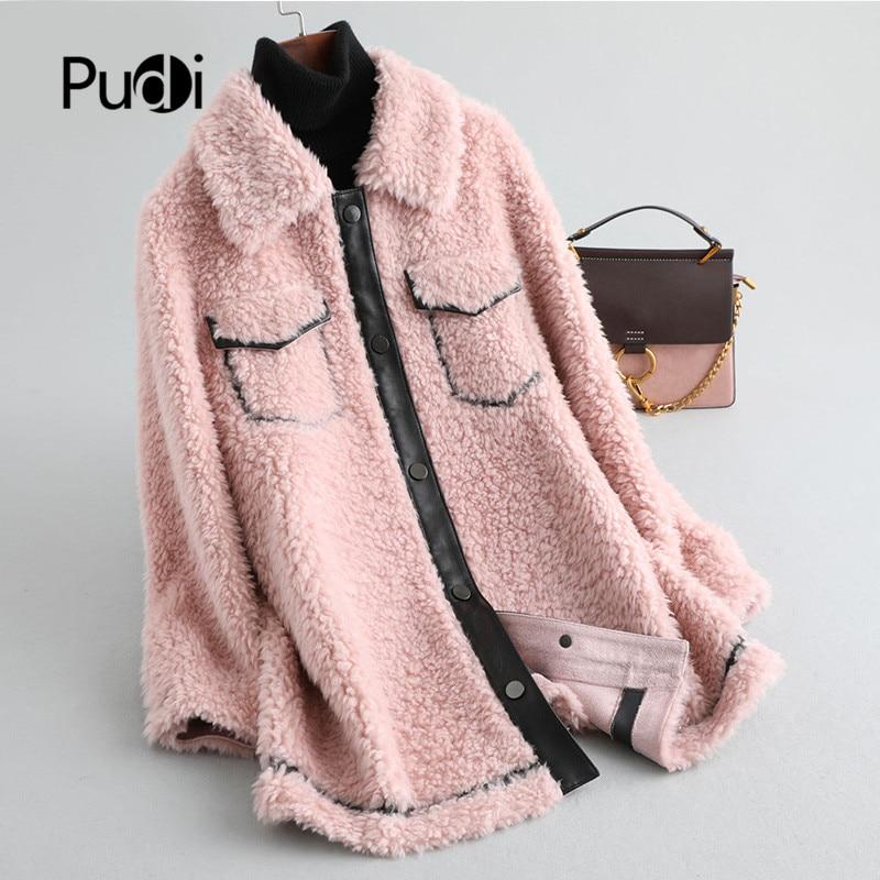 Pudi women winter skirt style Real wool fur coat short jacket over size parka lady fashion genuine fur coat outwear A19063