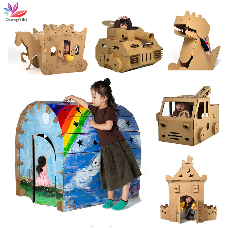3D DIY Puzzle Graffiti Castle Transport Cartoon House Paper Toy Kids Early Learning Puzzle Children Eco-friendly Graffiti Gift