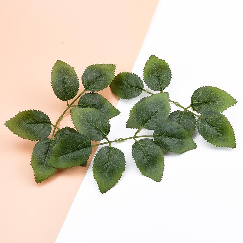 200 Pcs Artificial plants green leaf cheap Silk roses Leaves decorative flowers wreaths scrapbooking Home decoration accessories