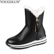 Zipper Wedges Snow Boots Women Winter PU Long Warm Shoes Woman A325 Fashion Ladies Black White Pink Blue Round Toe Ankle Boots недорого