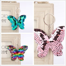 1PCS Sequined Butterfly Key Chain Party Favor Gift Family Friend Baby Souvenirs Birthday Valentines Day Gift Festive Party Event(China)