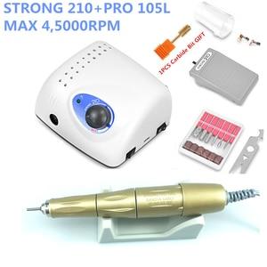 Image 3 - 45K New Arrival STRONG 210 plus PRO 105 105L Handpiece 65W 45000rpm Nail Drills Manicure Machine Pedicure Electric File Bits
