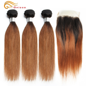 70g/pc Blonde Bundles With Closure 1B 30 Brazilian Straight Hair Bundles With Closure Ombre Human Hair 3 Bundle With Closure