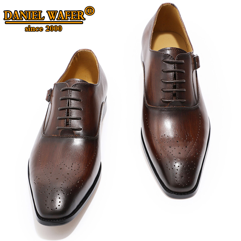 Luxury Brand Men Leather Shoes Genuine Leather Oxford Formal Shoes Men Dress Office Brown Black Lace up Buckle Strap Shoes Male 1
