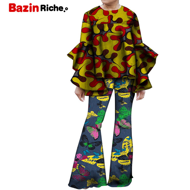 2 Pieces Sets Autumn African Pants Sets Women African Wax Print Long Flare Sleeve Tops and Bell-bottomed Pants for Women WY5529