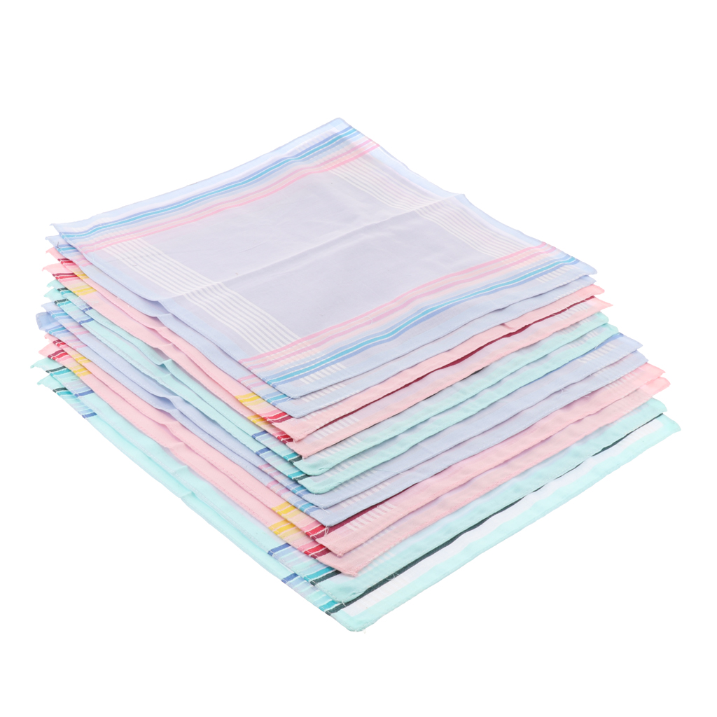 Mens 12 Pack Assorted Cotton Pocket Square Handkerchief For All Kinds Of Suits