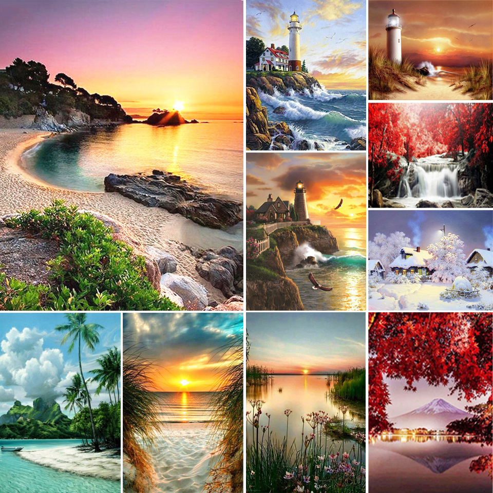 5D DIY Diamond Painting Sunset Seaside Diamond Embroidery Landscape Mosaic Picture Cross Stitch Kit Crystal Home Decoration Gift