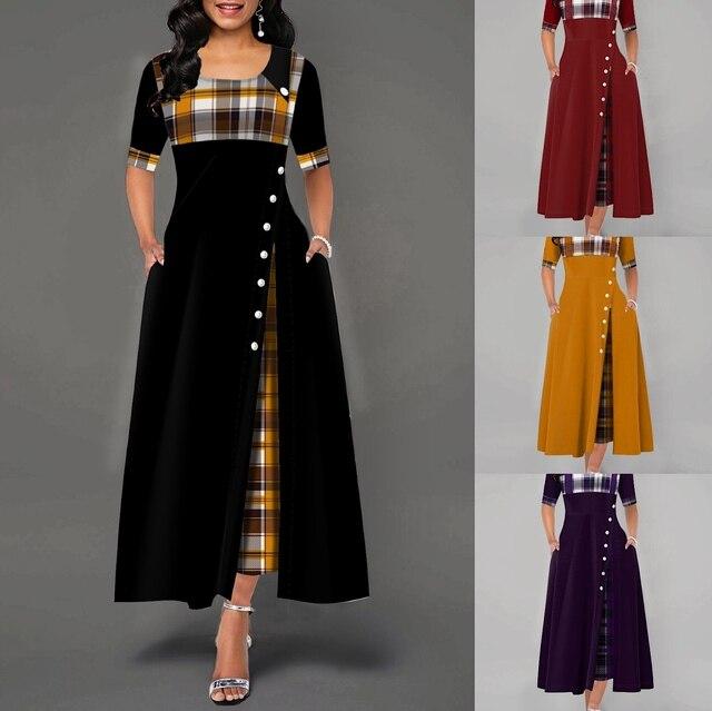 Elegant Long Dress Women spring Plaid Print Party Dress Irregular Vintage Dresses Ladies Button A-Line 2020 New fashion Dress 8
