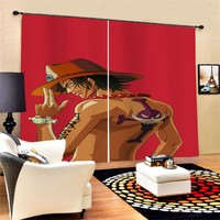 One Piece Anime Cartoon Character Curtains Luxury Blackout 3D Window Curtains for Living Room Bedroom Window Decoration Curtains
