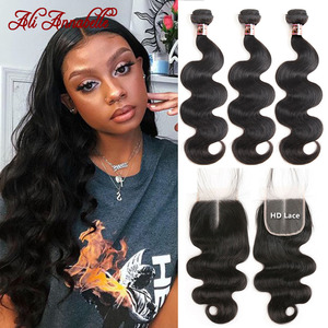 Body Wave Bundles With Closure HD Brazilian Human Hair Bundles With Closure Ali Annabelle 10-20inch HD Lace Closure with Bundles