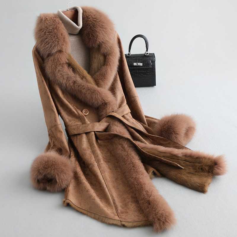 Coat Winter Women Double Faced Real Rabbit Fur Coat Female Fox Fur Collar Real Leather Jackets For Women Clothes 2020 MY