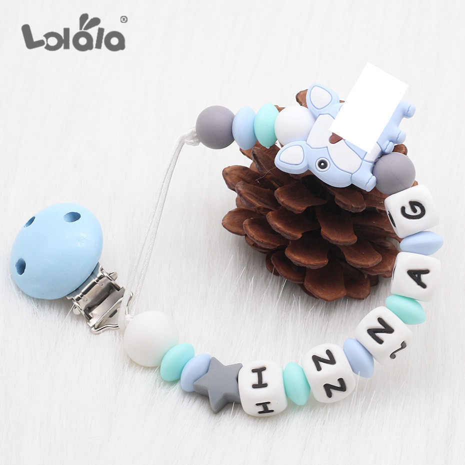 NEW Silicone Beads Baby Pacifier Clip Dummy Clips Personalised Name Colorful DIY Pacifier Chain Baby Teething Soother Chew Toys
