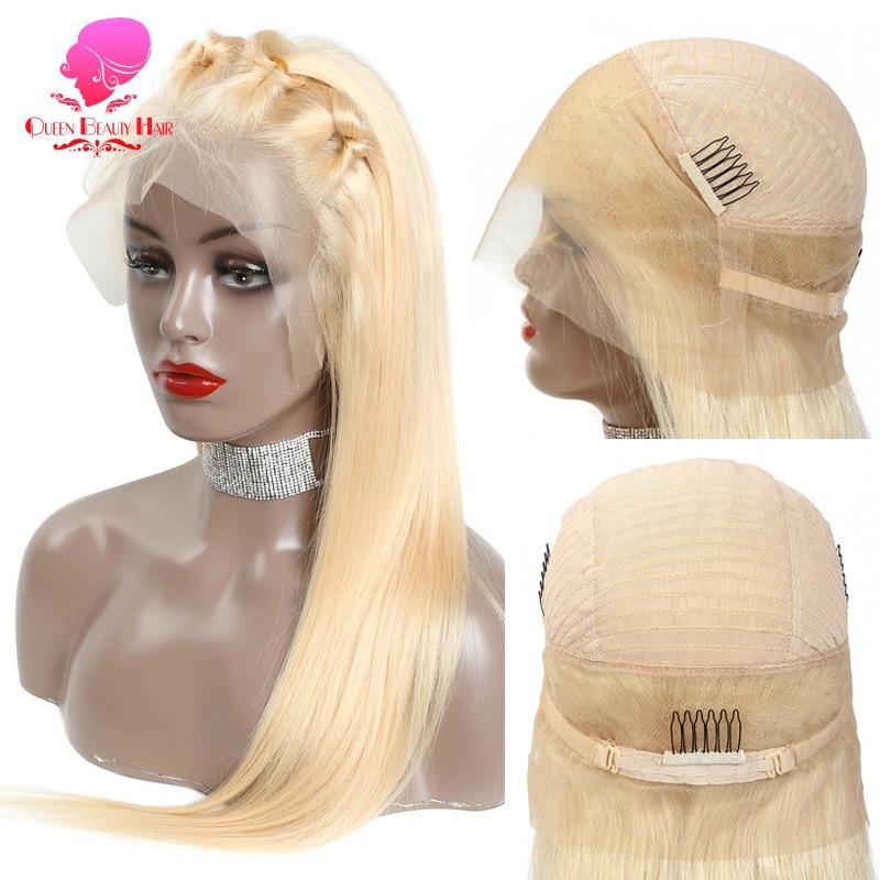 613 blond kolor Ombre 360 koronkowa peruka ludzki włos 150% gęstość blond Glueless bielone węzły Preplucked 360 koronkowa peruka
