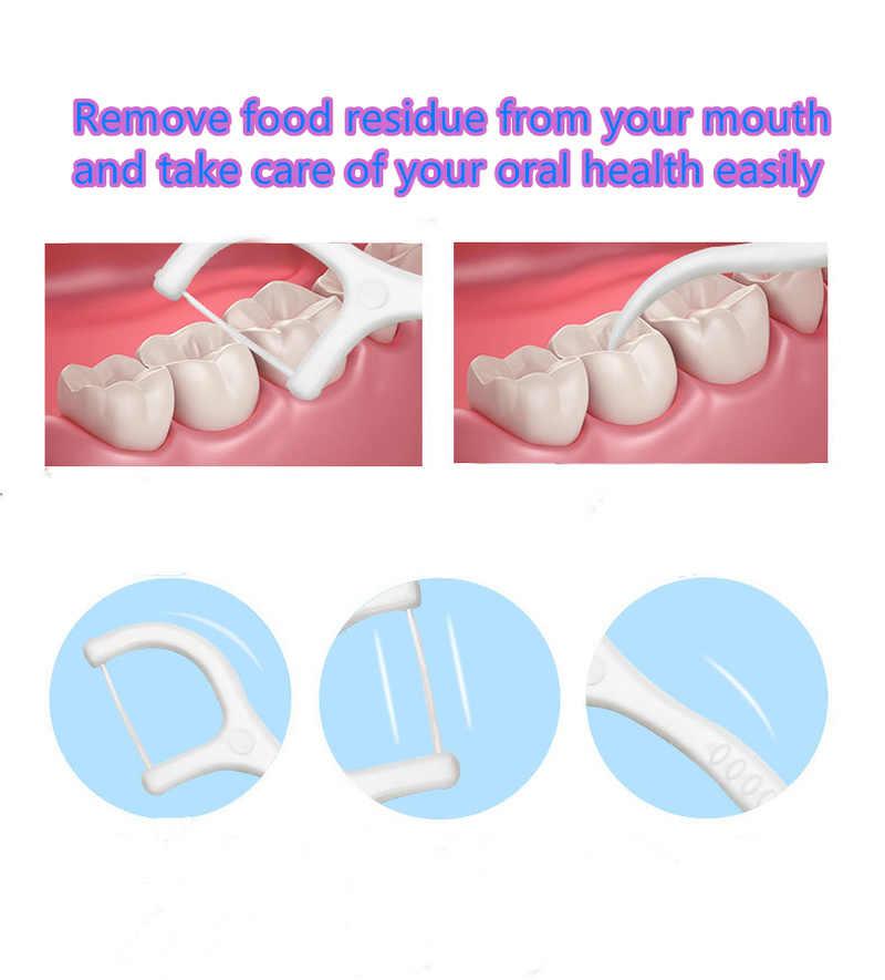 50 sztuk/partia nić dentystyczna higiena jamy ustnej Dental Sticks Dental Water Floss ustne zęby wybierz zębów ABS Floss z przenośny pojemnik