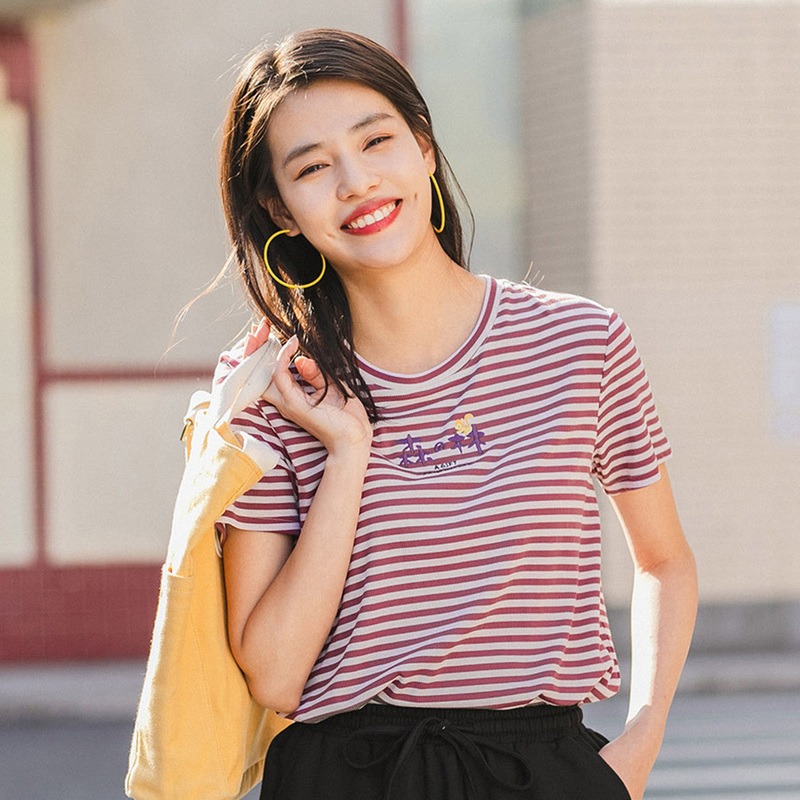 INMAN 2020 Summer New Arriavl Contrast Color Embroidered Micro Elastic Short Sleeve Stripe T-shirt