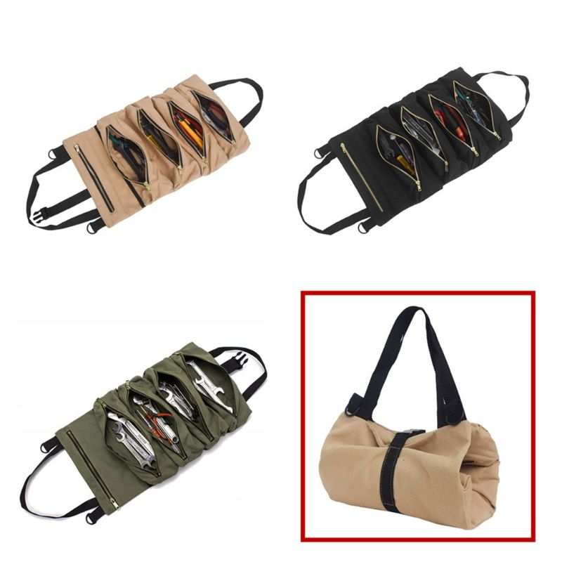 Canvas Tool Roll Wrench Pouch Vehicle Tool Bag Hanging Tool Zipper Carrier Tote 72XD