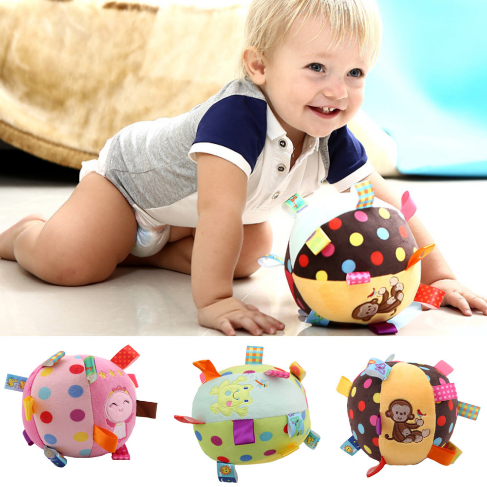 0-12 Months Children's Ring Bell Ball Baby Cloth Music Mobile Learning Toy Plush Educational Hand Grasp Rattle Ball