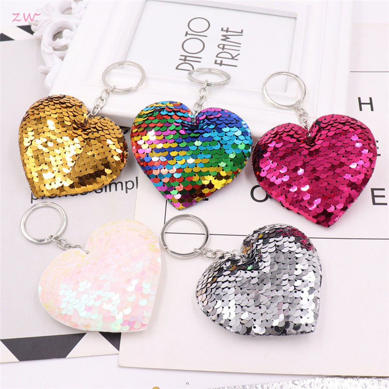 Sequins Keychain Shiny Reflective Cartoon Couple Keychain Ms. Personality Accessories Heart-shaped Car Keys Pendant 3C0066