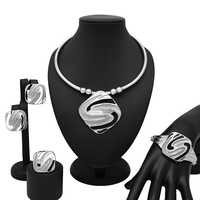European Creative New Design Silver Necklace Bracelet Ring for Women Christmas New Year Prom Party Fashion Jewelry Sets Gift