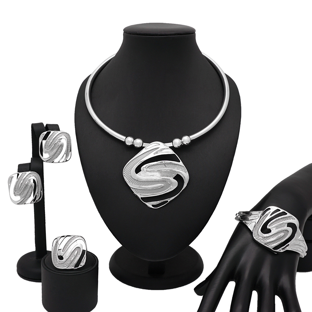 European Creative New Design Silver Necklace Bracelet Ring for Women Christmas New Year Prom Party Fashion Jewelry Sets Gift(China)
