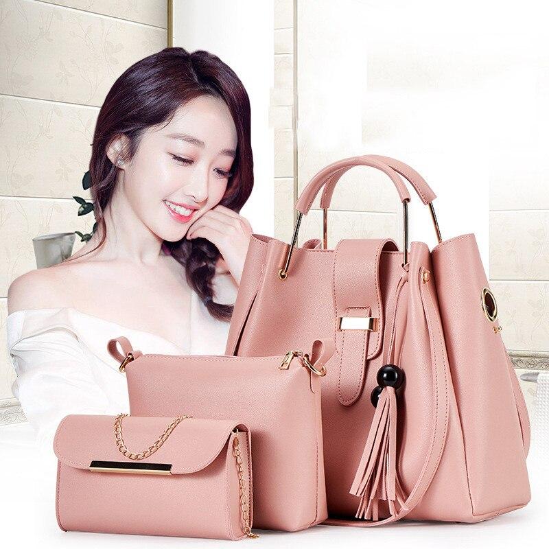 3PCS Composite Bags For Women Bag Sets PU Leather Shoulder Bags Tassel Handbag Casual Tote Fashion Composite Messenger Bag