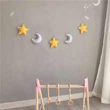 nordic handmade baby room nursery star garlands christmas kids room wall decorations photography props best gifts Nordic Felt Moon Star Garlands String Baby Kids Room Decoration Wall Hanging Ornaments Nursery Decor baby Banner Photo Props