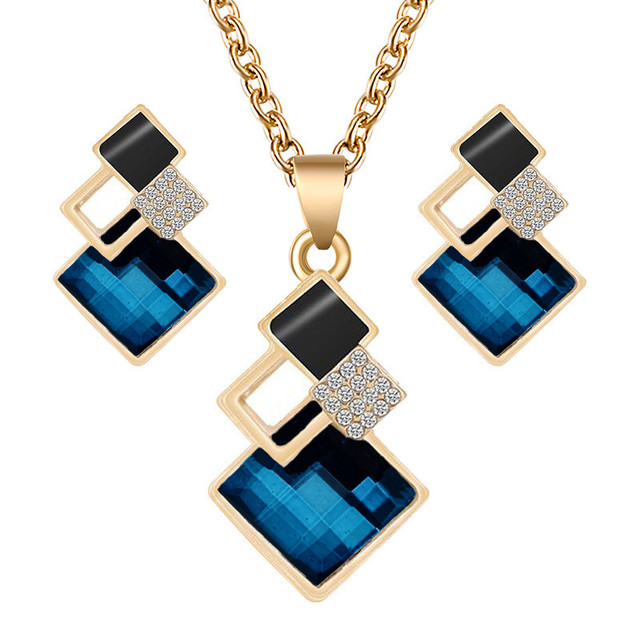 Crystal Geometric Pendants Necklace Earrings Sets for Women Fashion Jewelry Set Bridal Wedding Earring Necklace Set 6