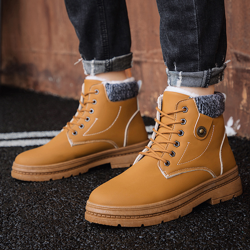 2019 Men Boots Keep Warm Winter Boots Men High Quality Waterproof Casual Shoes Working Fashion Pu Leather Snow Boots