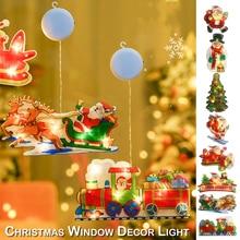 LED Window Decoration Light Glass Hook Christmas Santa Hanging Light Xmas String Light for Store Restaurant Door Decoration D30