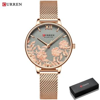 CURREN Women Watches Top Brand Luxury Stainless Steel Strap Wristwatch for Women Rose Clock Stylish Quartz Ladies Watch 12