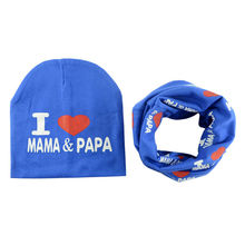 Baby Hat scarf I Love Papa Mama Print Beanie Caps For Boy Girl Knit Spring Autumn Winter Children beanies kids Knitted cap H109D