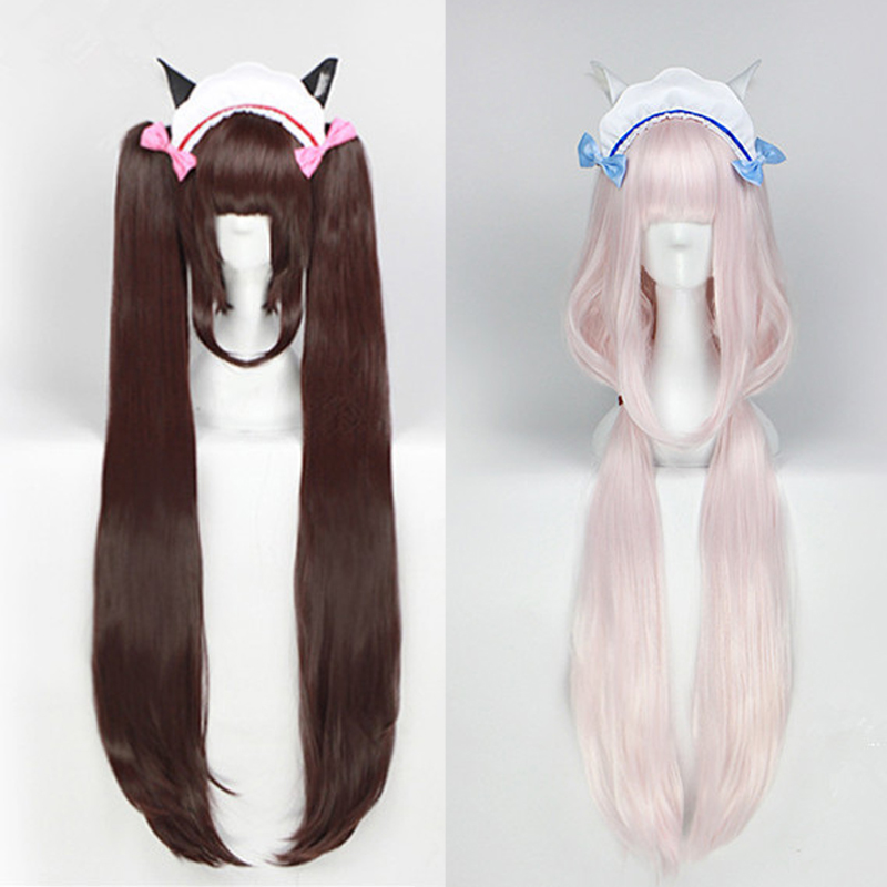 Anime NEKOPARA Cosplay Wig Women Chocolate Vanilla 100cm Heat Resistant Synthetic Hair NEKOPARA Cosplay Hair +Wig Cap