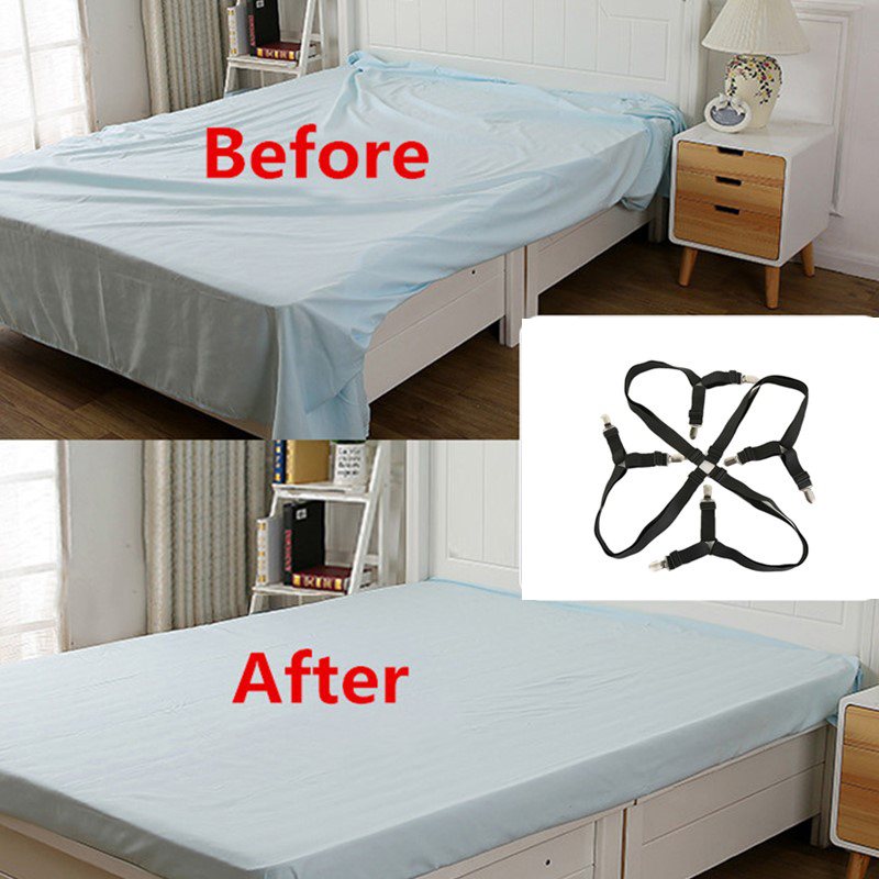2Pcs/set Eight Edges Bed Sheet Holder Sofa Cushion Clips Non-slip Sheet Buckle Stainless Steel Nylon Adjustable