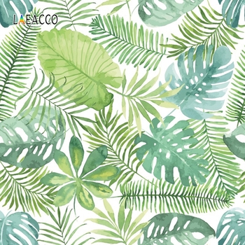 Laeacco Tropical Photophone Jungle Party Photography Backdrops Forest Green Leaves Photo Backgrounds Photozone For Photo Studio kate photography backdrops smart watch wearable devices green screen chromakey backgrounds for photo studio