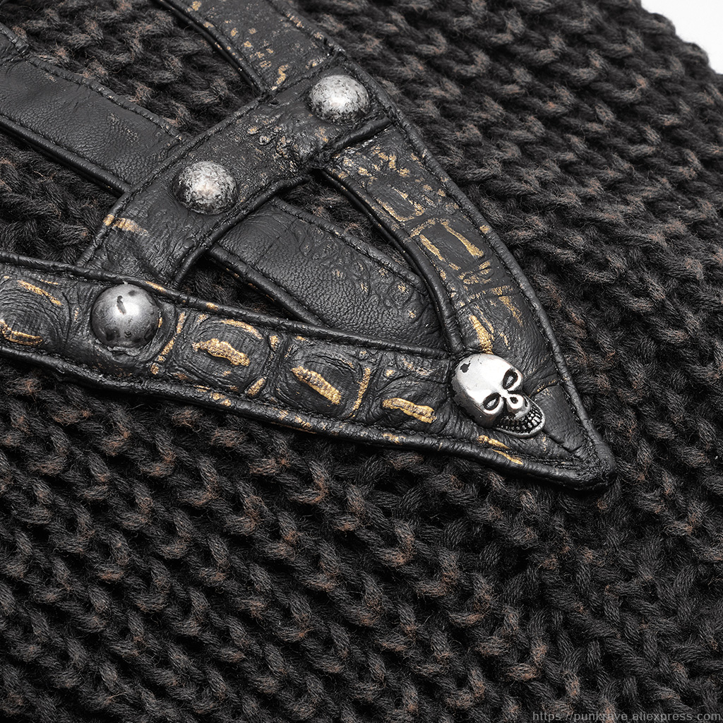 PUNK RAVE Punk Vintage con capucha negro suéter Steampunk Retro suéter Halloween hombre Casual moda oscuro Streetwear pulóvers - 6