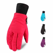 1 Pair Women Skiing Gloves Full Finger Thick Water Resistant Thermal Handwear Outdoor Winter Cycling Sportswear Accessories цена
