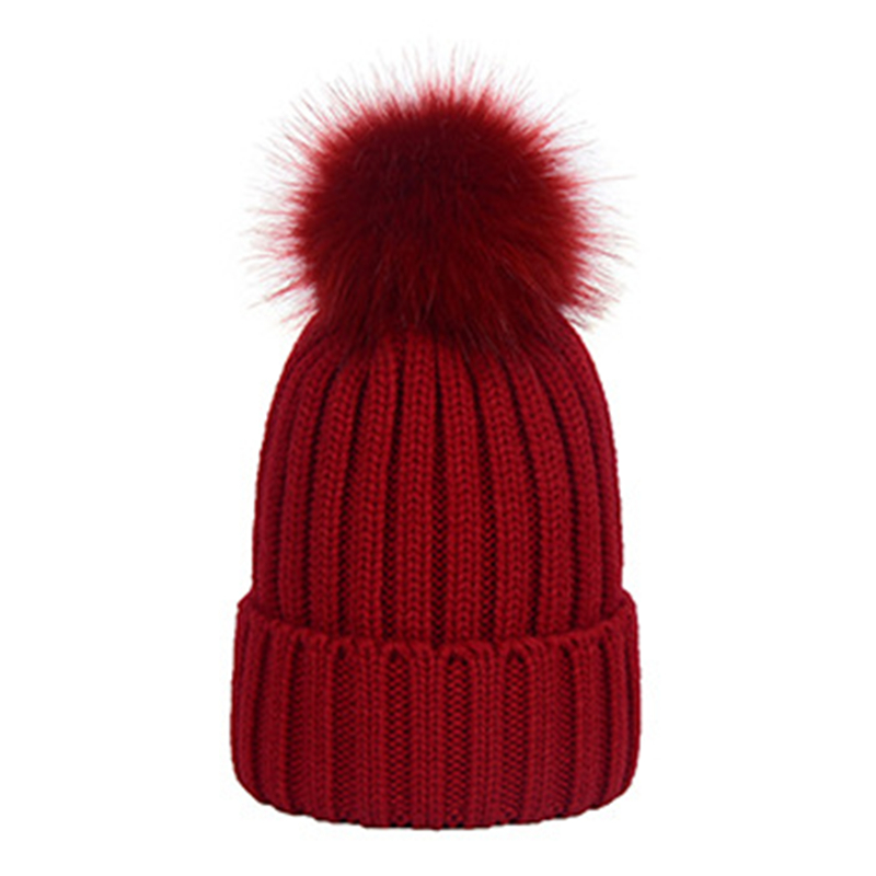 Casual Winter Women Hat 2019 With Pompom Caps Women Acrylic Red Blue Gray Black Winter Beanie Hat Solid Adult Beanies For Ladies