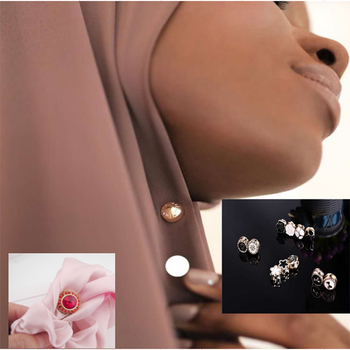 2020 new usefull & safe Magnetic Hijab Scarf Headkerchief Suit Collar crystal Magnet Pin buckle  brooch 12pcs dozen mix color classic round solid magnet brooch hijab accessories muslim magnetic pin hijab scarf buckle magnet