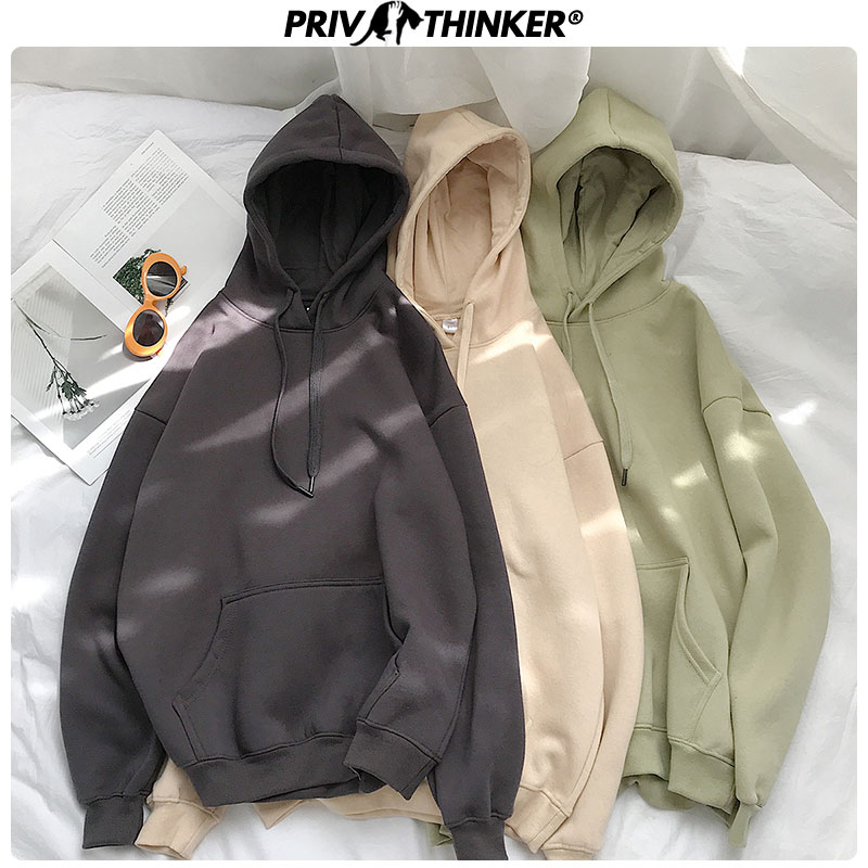 Privathinker Woman's Solid 12 Colors Korean Hooded Sweatshirts Female 2020 Cotton Thicken Warm Hoodies Lady Autumn Fashion Tops