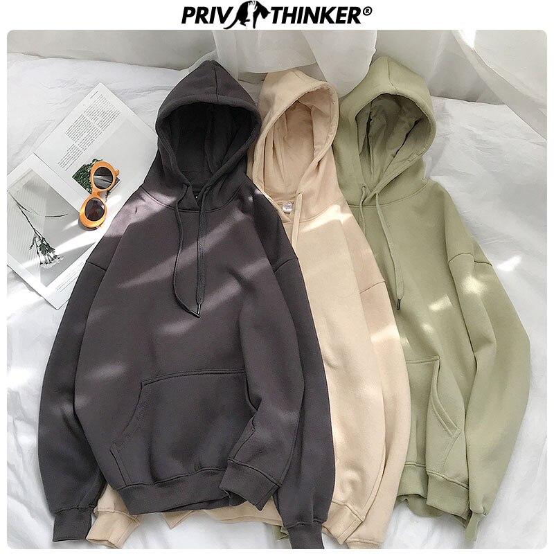 Sudaderas con capucha coreanas de 12 colores de color liso para mujer de machinker, sudaderas con capucha gruesas de algodón 2020 para mujer, Tops de moda de otoño para mujer